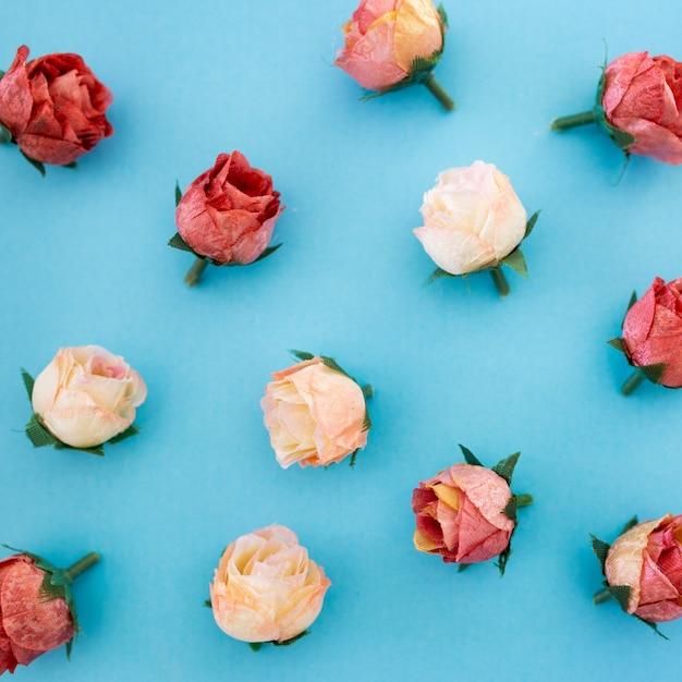青い背景に美しいバラの花のパターン 無料写真