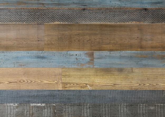 淡い褐色とクールな青の再生木材表面 無料写真