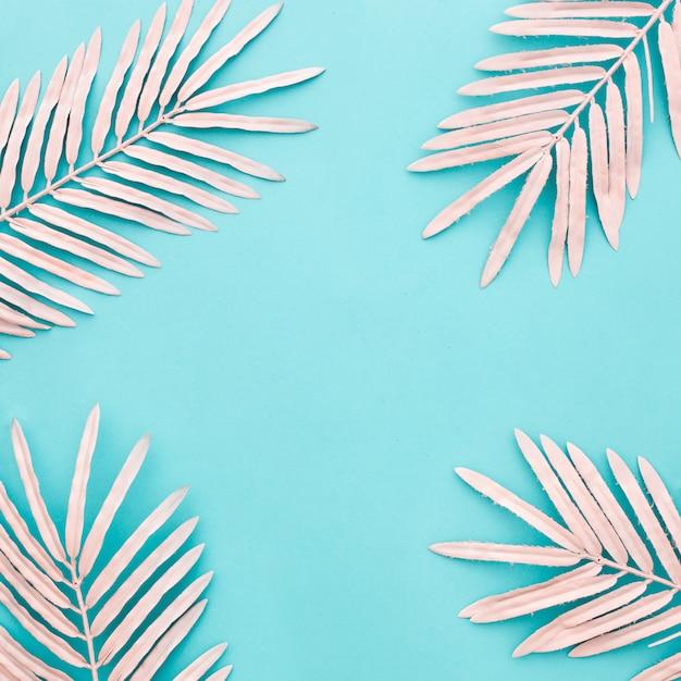 青の背景にピンクのヤシの美しい構図の葉します。 無料写真