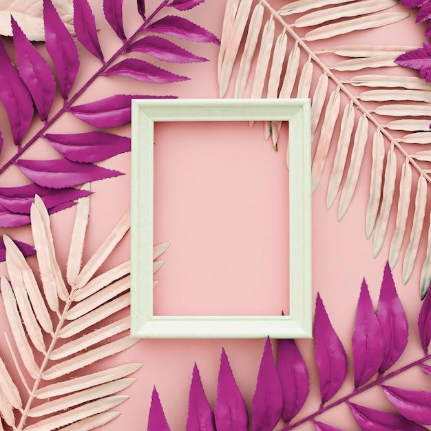 白いフレームとピンクの背景に染められたピンクの葉 無料写真