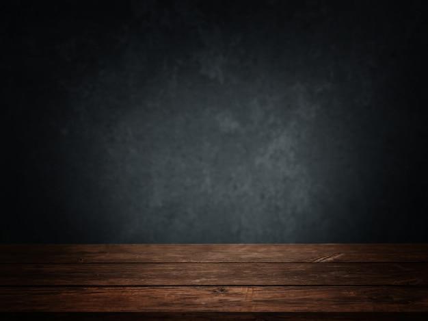 木製の床と濃紺の壁と空の部屋 無料写真