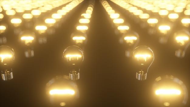点滅する白熱電球の無限の表面 Premium写真