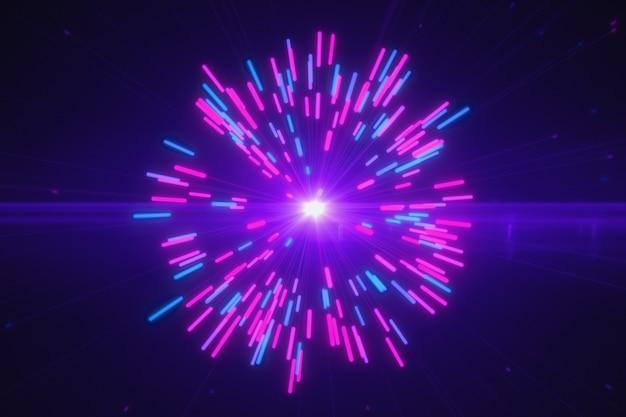 Абстрактные разноцветные взрывы цифровых неоновых фейерверков Premium Фотографии