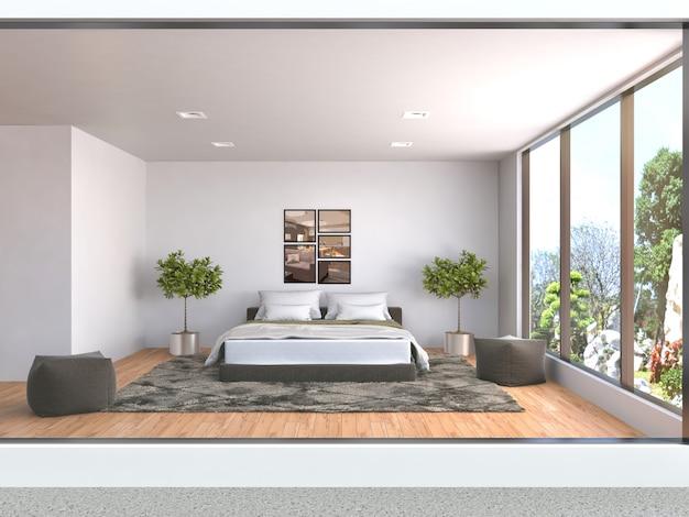 寝室のインテリアのレンダリングされた図 Premium写真