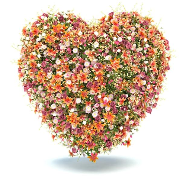 Цветочное сердце на белом Premium Фотографии