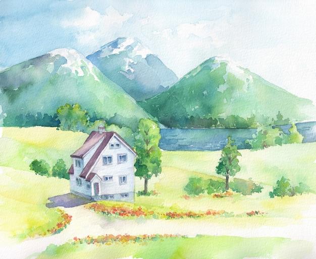 家と湖のある山の風景。水彩の手描きイラスト。 Premium写真