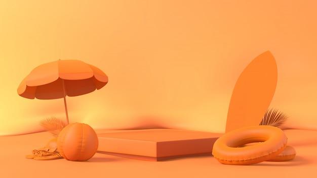 バックグラウンドで夏の小道具とオレンジのテーマボックス表彰台ヤシの葉 Premium写真