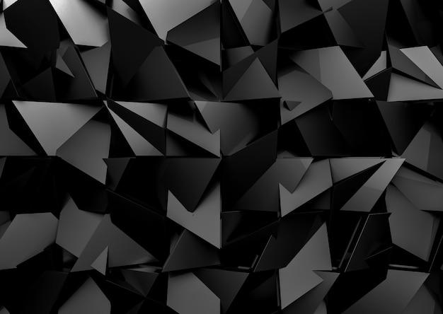 未来的なダークブラックミックスポリゴン形状パターン壁の背景。 Premium写真