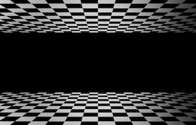 背景として灰色の色の壁と床と上部に正方形のチェスのタイル。 Premium写真