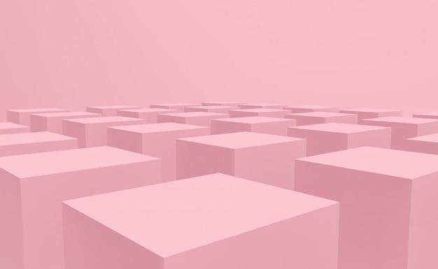 床のデザインの背景に甘いパステルピンクカラーキューブボックススタック。 Premium写真