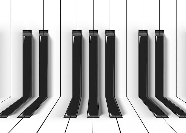 織り目加工のピアノキーボードパターン壁のデザインと床の背景。 Premium写真