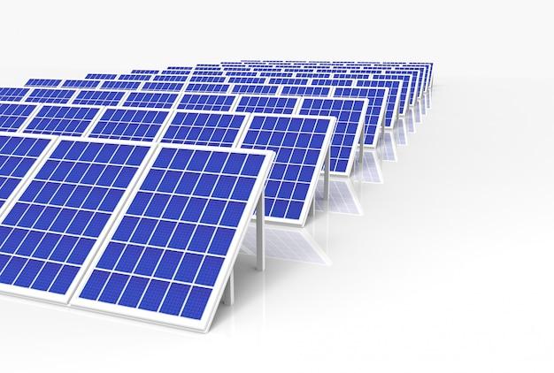 Система генерации электрической энергии, панели солнечных батарей, полевые фермерские хозяйства Premium Фотографии