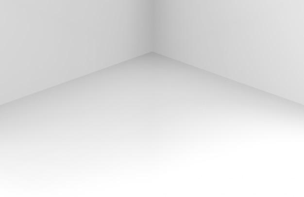 モダンなシンプルな最小限の白いコーナールームボックス壁 Premium写真