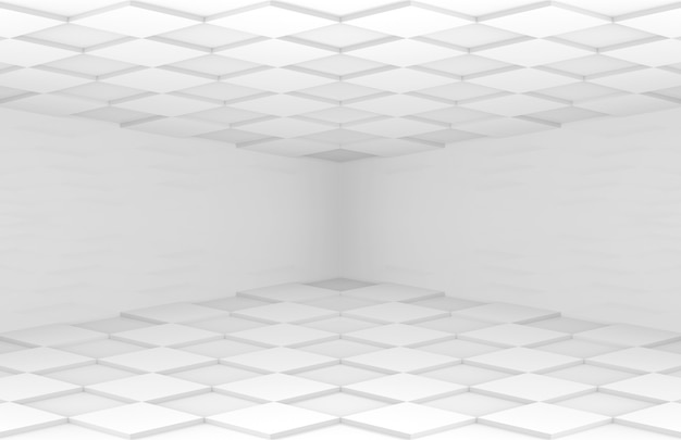 白い正方形のグリッドタイルの床と天井コーナールーム壁 Premium写真