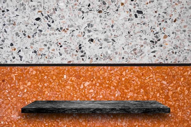 黒の大理石の石造りの棚の上の空のトップ、製品の表示 Premium写真