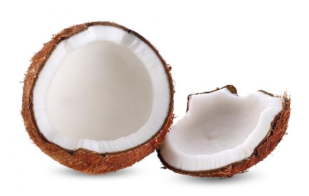 白いクリッピングパスで分離されたココナッツミルク Premium写真
