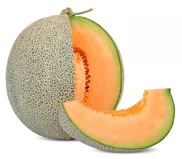 Плоды дыни, изолированные на белом Premium Фотографии
