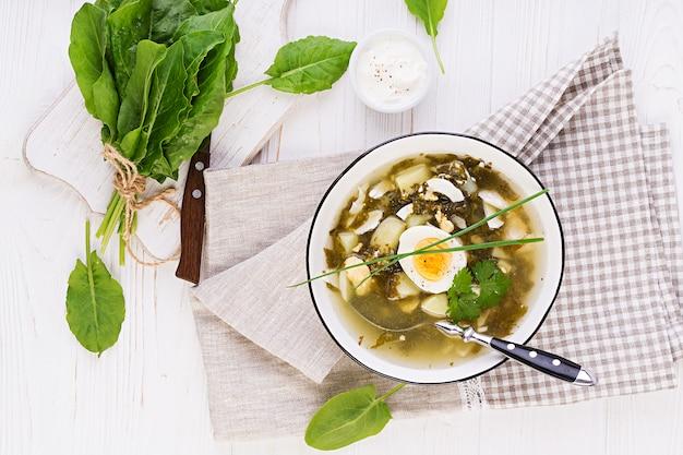 Зеленый суп из щавеля в белой миске Premium Фотографии