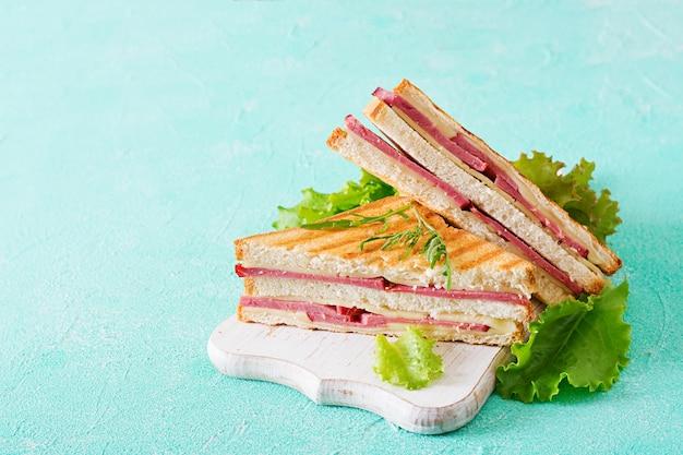 クラブサンドイッチ - ハムとチーズの明るい背景にパニーニ。ピクニックフード Premium写真