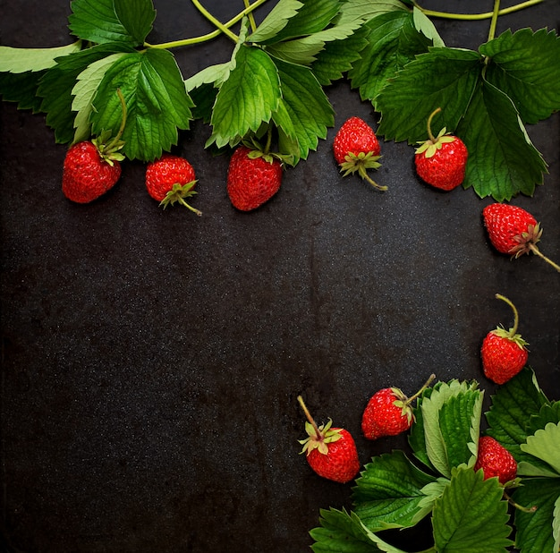 熟したイチゴと暗い背景の葉。上面図 無料写真