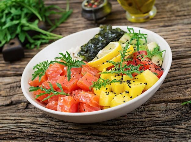 Тушеная рыба из гавайского лосося с рисом, авокадо, манго, помидорами, кунжутом и морскими водорослями. чаша будды. диетическое питание. Бесплатные Фотографии