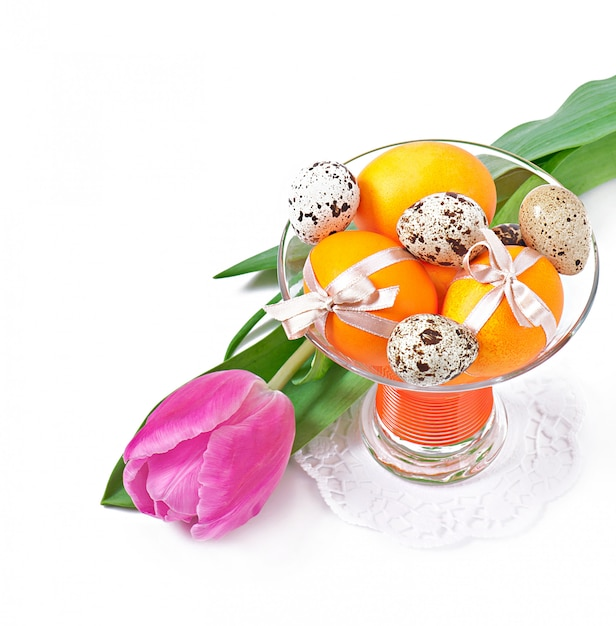 花、ウズラの卵、カラフルな卵 無料写真