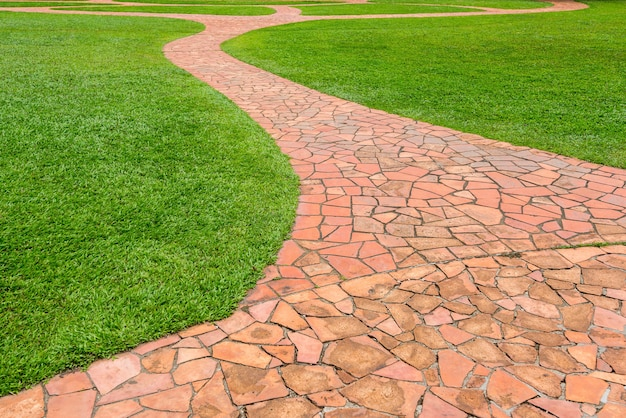 公園の緑の芝生とオレンジ色の石の通路。抽象的な背景 Premium写真