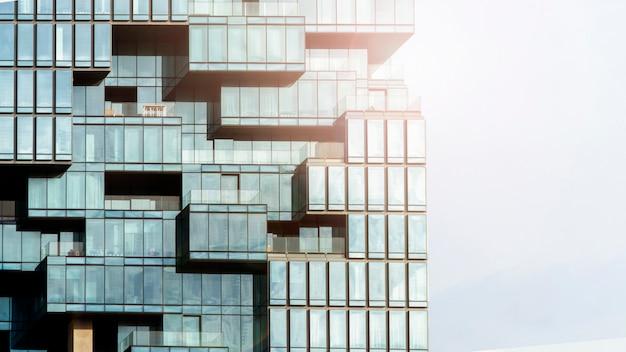 モダンな建築様式の壁の背景パターンガラスとガラスの窓ガラス窓 Premium写真