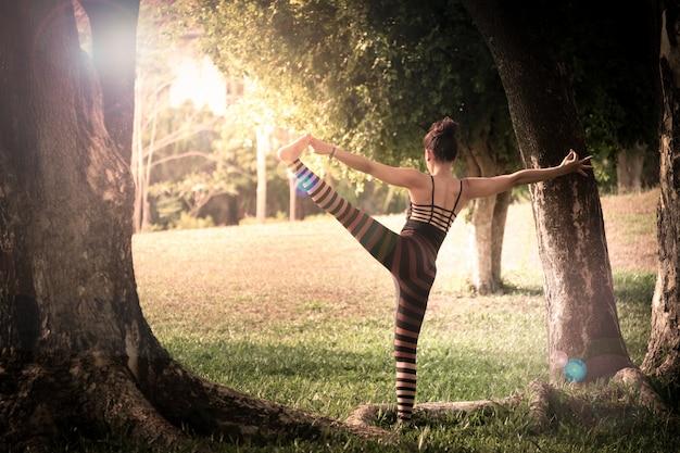 公園の緑の芝生でヨガの練習をしている美しい若い女性 Premium写真