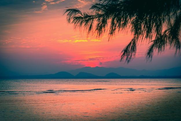 山と葉の木と海に劇的な空に沈む夕日。ビンテージトーン Premium写真