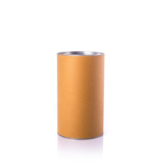 銀色のキャップが付いた新しい茶色の丸い紙箱。 Premium写真