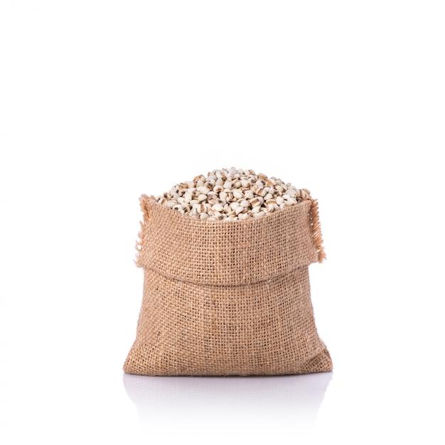 キビ米または小さな袋のキビ粒。 Premium写真