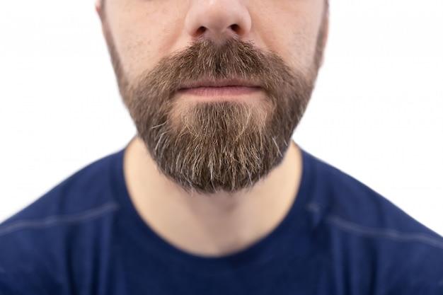 白人の白人男性のひげと口ひげのクローズアップ Premium写真