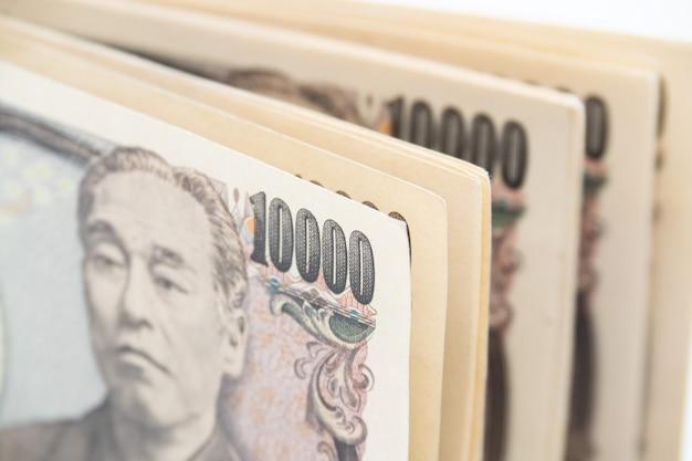 日本円紙幣を閉じます。日本経済。 Premium写真