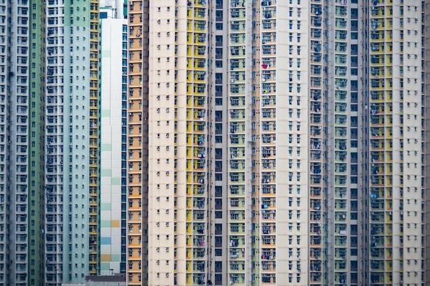 住宅ビルのパノラマの町。中国の複雑な都市と都市生活のためのコンセプトの背景 Premium写真