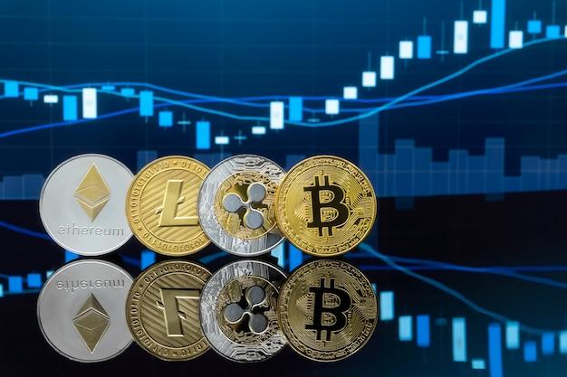 Концепция инвестирования в биткойны и криптовалюты. Premium Фотографии
