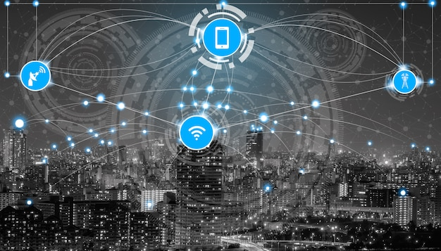 無線通信ネットワークのアイコンとスマートシティスカイライン。 Premium写真