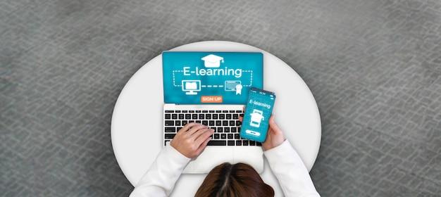 Электронное обучение для студентов и университетов Premium Фотографии