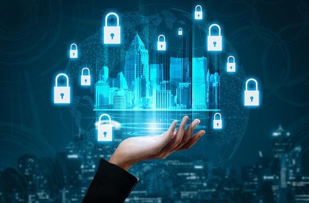 Концепция кибербезопасности и защиты цифровых данных Premium Фотографии