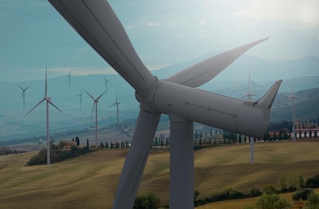 美しい自然の風景の中の風力タービン。 Premium写真