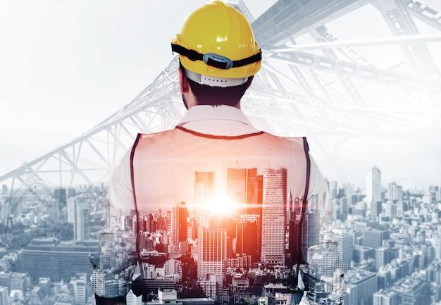 Будущий проект строительства здания. Premium Фотографии
