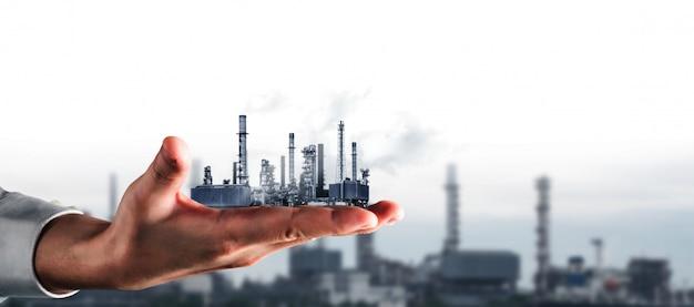 Концепция будущего завода и энергетической промышленности. Premium Фотографии