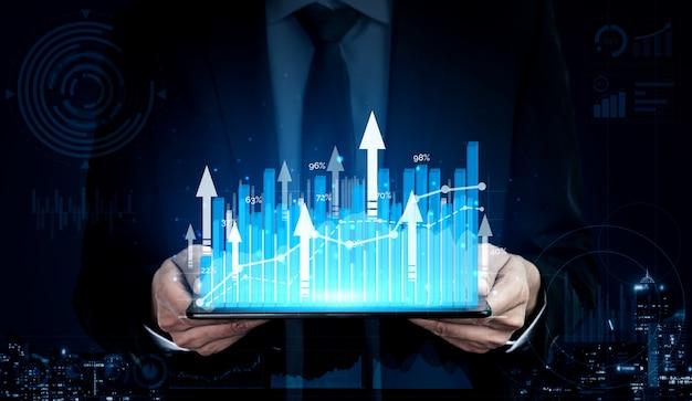 Изображение двойной экспозиции роста прибыли бизнеса Premium Фотографии