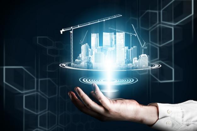 革新的な建物のアーキテクチャとエンジニアリング。 Premium写真