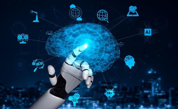 将来の人工知能ロボットとサイボーグ。 Premium写真