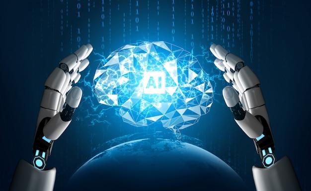 未来的なロボットの人工知能の概念。 Premium写真