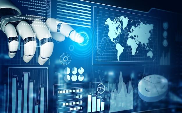 未来的なロボットの人工知能の概念 Premium写真