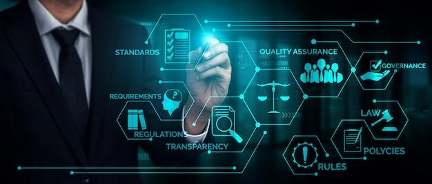Соответствие нормам законодательства и нормам графический интерфейс для политики качества бизнеса Premium Фотографии