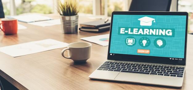 Электронное обучение и онлайн-образование для студентов и студентов концепции. Premium Фотографии