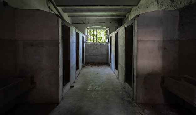 Темный и жуткий заброшенный дом Premium Фотографии